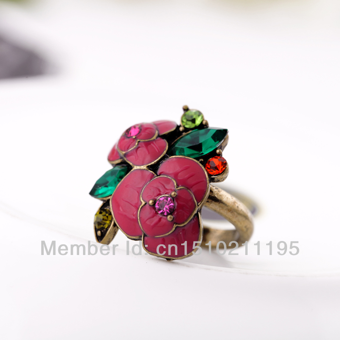 Red Flower Jewelry Women Ring