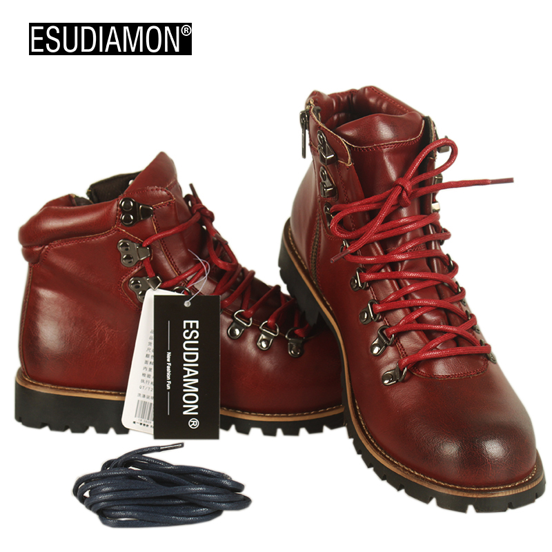 Esudiamon men boots leather japan style top quality motorcycle round toe ankle fashion high cut male