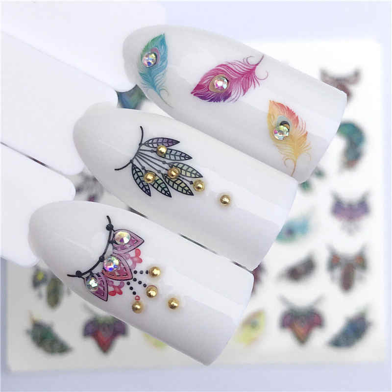 Lcj Bloem Gemengde Decals Nail Art Water Transfer Stickers Lavendel/Dream Catcher/Gras Stijlen Nail Tip Decor Diy