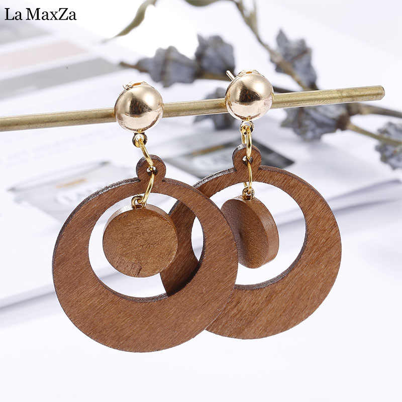 Natural Wood Earring Wooden Earrings For Women Exaggerated Statement Hollow Round Circular Stud Earrings Girls Fashion Jewelry