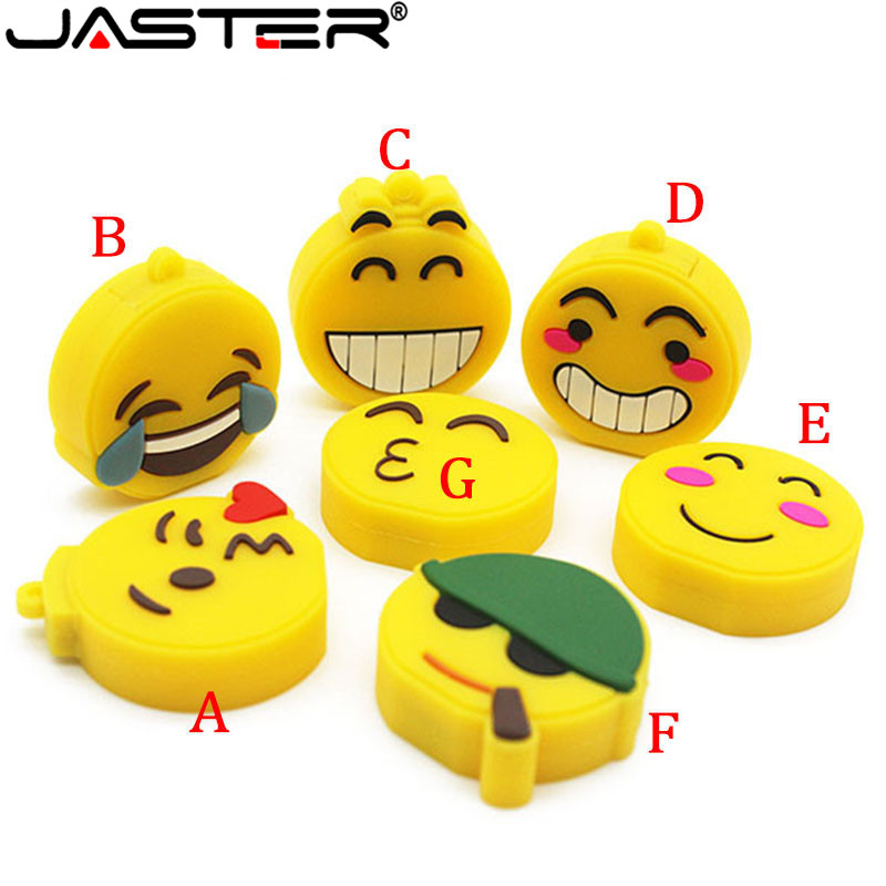 JASTER Fashion Hot Selling Creative U Disk 2.0 64GB 32GB 16GB 8GB 4GB Cartoon Emoticon Package Real Capacity USB Flash Drive