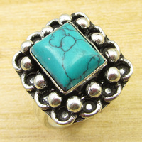 Real Stone Ring Size US 7 Silver Overlay Turquoises Jewellery ONLINE STORE