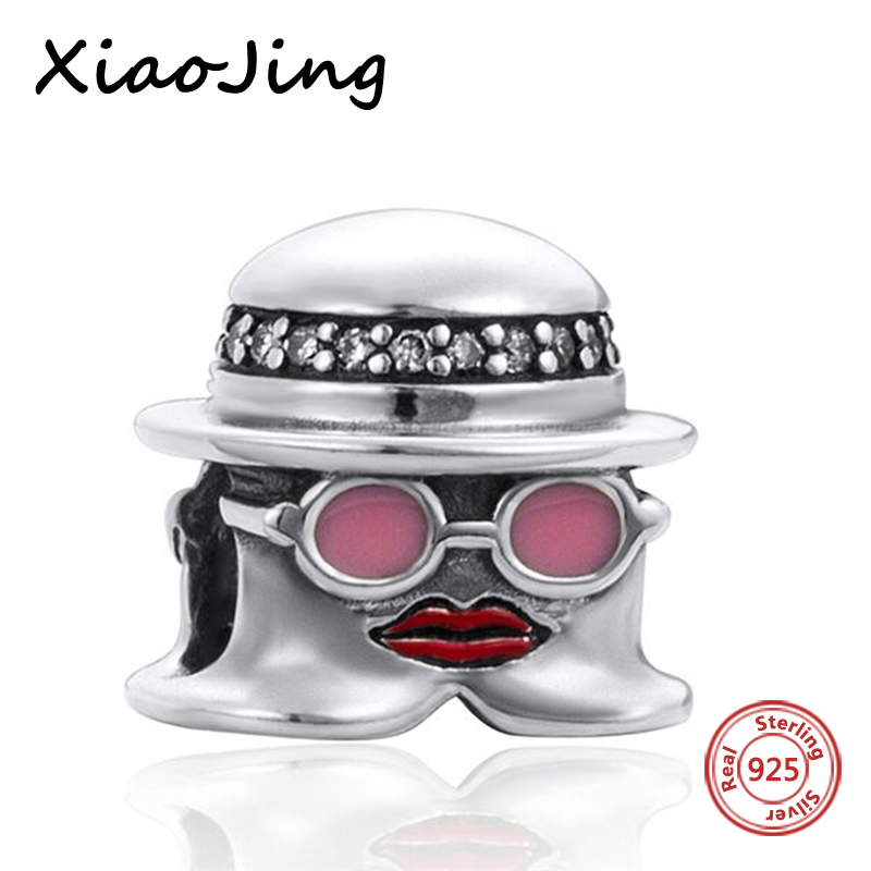 Fit Authentic Pandora charms bracelet Silver 925 Miss A Beads with pink enamel European diy fashion jewelry making women Gifts