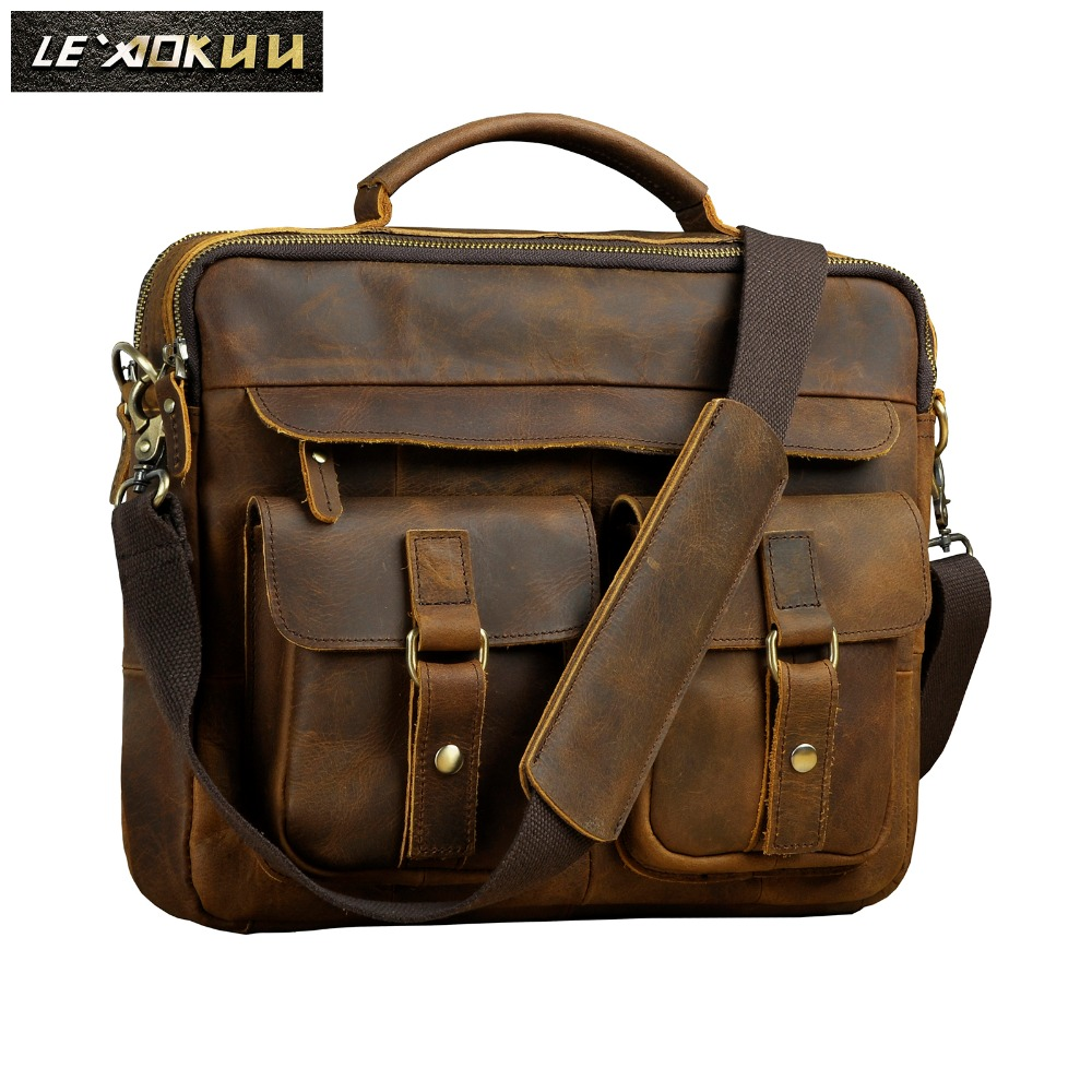 Men Quality Leather Antique Design Business Briefcase 13