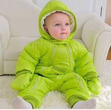 2017 New Baby Jumpsuit Autumn Winter Snowsuit Jacket Kids Overcoat Park Baby Boys Girls Clothing Outdoor Warm Coat with Hat