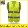 Insignia de la impresión chaleco amarillo reflectante chaleco de seguridad con construcción bolsillo ropa de trabajo ropa de ropa de alta visibilidad de seguridad