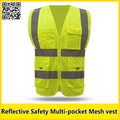 Safety vest print logo reflective yellow vest with pocket construction work wear safety clothing hi vis clothing