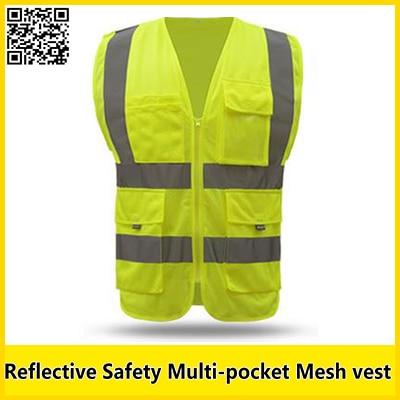 imágenes para Sfvest insignia de la impresión chaleco amarillo reflectante chaleco de seguridad con construcción bolsillo clothing ropa de trabajo de seguridad de alta visibilidad clothing