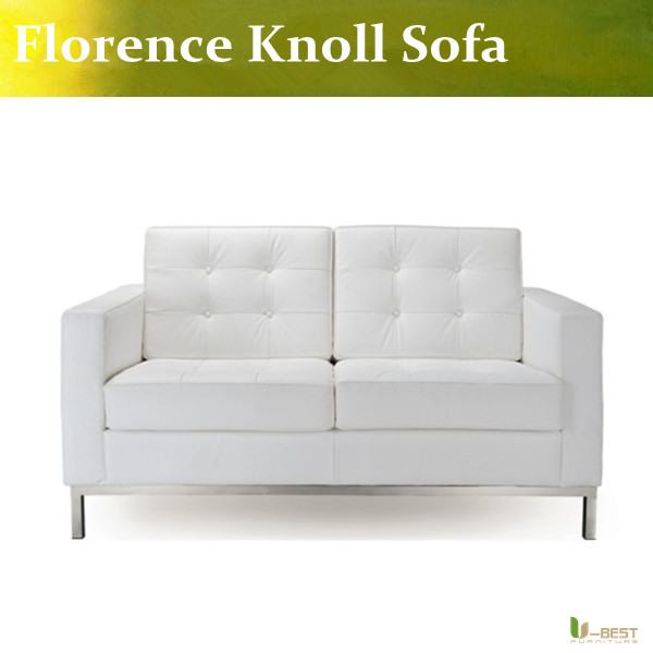 U BEST White Leather Modern Classic Contemporary Reproduction Retro  Furniture Florence Knoll Loveseat,Knoll