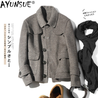 AYUNSUE Double sided Wool Coat Men British Casual Woolen Man Jacket Spring Short Mens Coats Overcoat Abrigo Hombre KJ1466