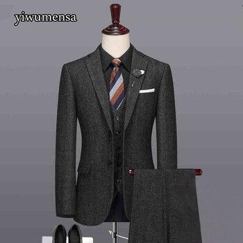 Y524 slim fit tweed men suit 3 piece wedding suits For men Custom made men Wool Herringbone Retro gentleman style tuxedo blazer