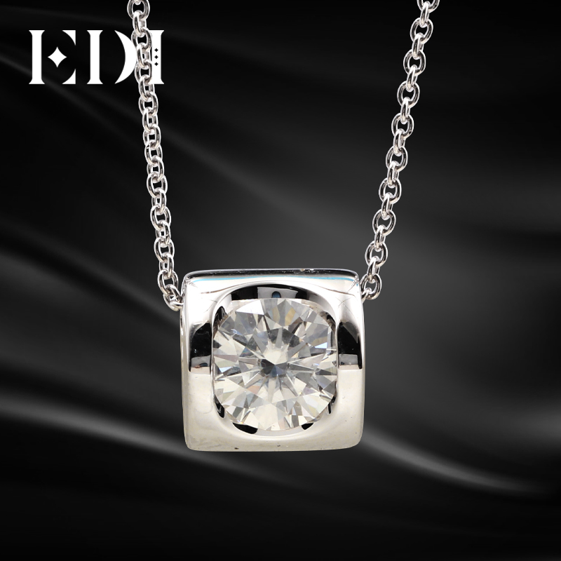 EDI Classic Solitaire Moissanites Pendant Necklace Real 18K White Gold Heart Design 1ct Round Moissanites Pendant Chain WomenEDI Classic Solitaire Moissanites Pendant Necklace Real 18K White Gold Heart Design 1ct Round Moissanites Pendant Chain Women