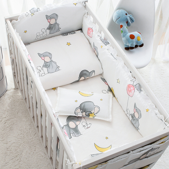 7PCS Baby bedding set animals Baby Quilt Bumper Cushion Pillow Cot Crib Bedding Set,(4bumpers+sheet+pillow+duvet)