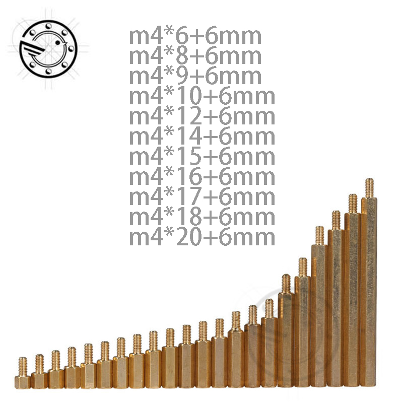 M4 Male 6 8 9 10 12 14 15 16 17 18 20 mm x M4 +6MM Female Brass Standoff Spacer Copper Hexagonal Stud Spacer Hollow Pillars 100pcs m3 nylon black standoff m3 5 6 8 10 12 15 18 20 25 30 35 40 6 male to female nylon spacer spacing screws