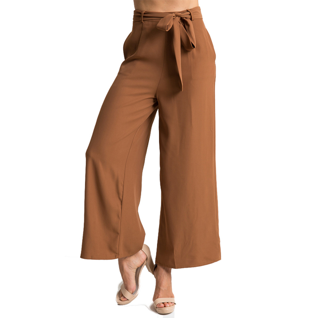 0c33bcd25 Fashion Trousers For Women Sashes Plus Size Elegant Women's Pants Trousers  Mid Wasit Wide Leg Pants Femme Black Formal For Work