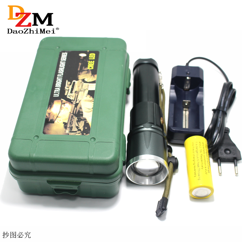 26650 Zoom led torch CREE XML T6 LED Zoom led Torches Zoomable LED Flashlight for 18650 26650 Battery Charger+box cree xml l2 6000 lumens 5 mode led flashlight zoomable focus torch zoom bicycle light 18650 battery charger clip box c09