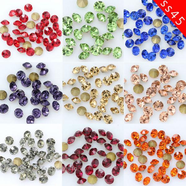 15 10mm round square sew on facted glass JEWEL GEMS CRYSTAL RHINESTONE trim Bead