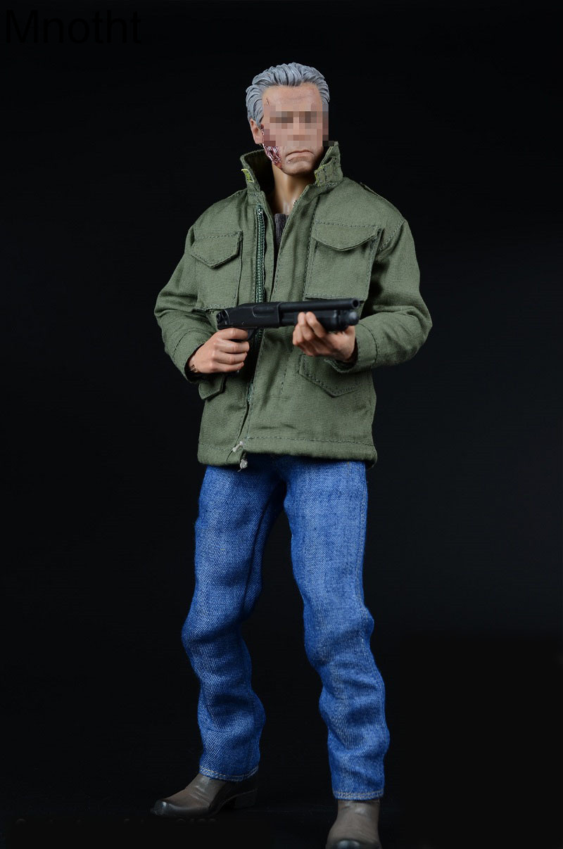 Mnotht 1/6 Male Solider Terminator Arnold Trench jeans windbreak Suit Clothes With Boots And 1/6 Scale Gun Model l30 A008 mnotht 1 6 male solider swat sniper suit