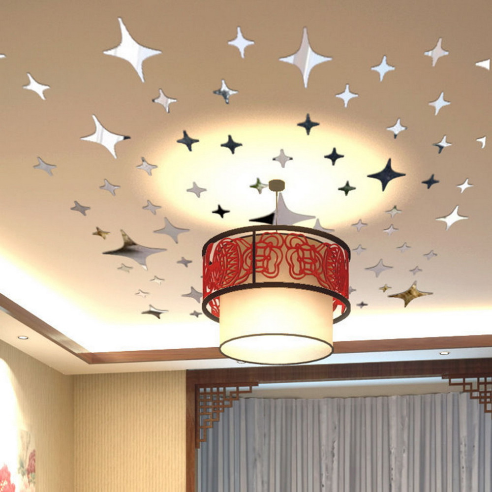 2015 43pcs twinkle stars ceiling decor crystal reflective for Home decor 3d stickers