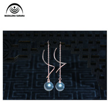 MADALENA SARARA 925 Sterling Silver and 8-9mm AAA Freshwater Pearl Hanging Earrings Simple and Stylish стоимость