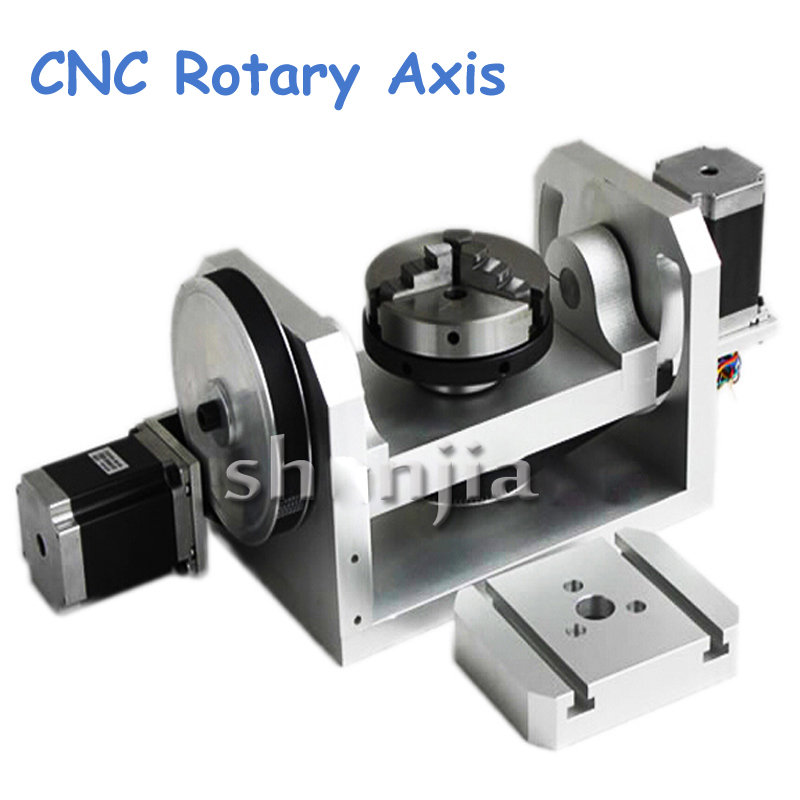 CNC Rotary Axis Axle Spindle with K01-100-Jaw Mandrels for Mini CNC Router Woodworking Machine Parts FAI DA TE  rotary axis mini router cnc