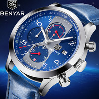 BENYAR Waterproof Sport Top Brand Luxury Quartz Watch Men Fashion Leather Blue Strap Chronograph Silver blue Dial reloj hombre
