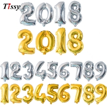 "1PC 16""/32""/40"" 3 Sizes Figures Foil Gold&Silver Number Balloon Float air Inflatable Balls For Birthday Party Wedding Decoration"