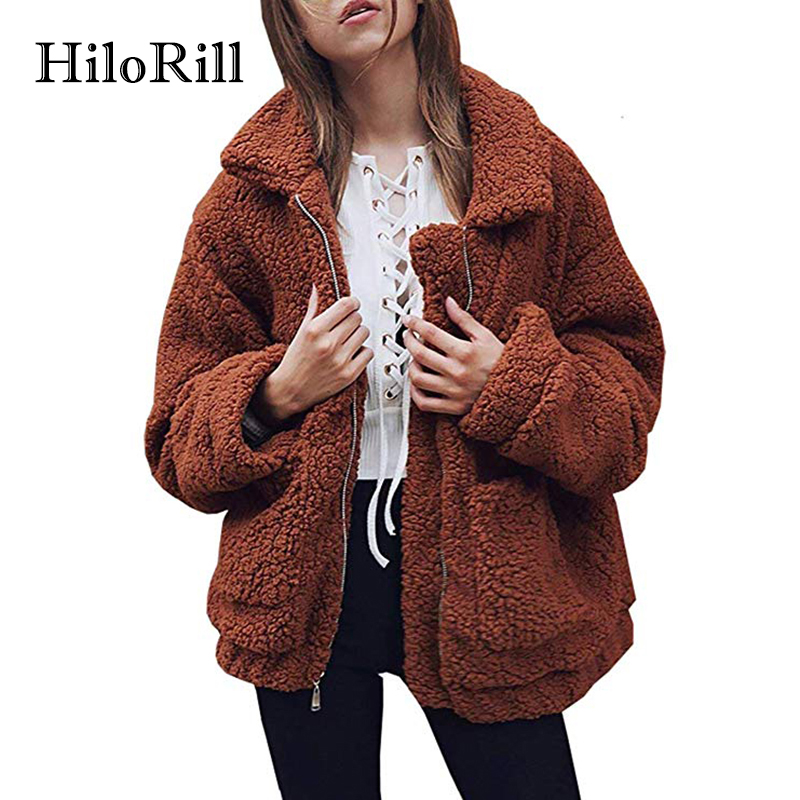 HiloRill 2018 Fashion Faux Fur Coat Women Casual Long