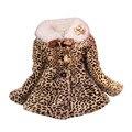 Niños niño de las muchachas de piel sintética de leopardo sudaderas con capucha de invierno chaqueta de la capa outwear parka de invierno niñas abrigo parka chaqueta caliente desgaste nuevo caliente