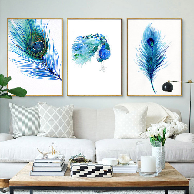 No Frame 3 Panel Peacock feather Poster Scandinavian Canvas Painting For Living Room Wall Picture Art Print Modern Home Decor