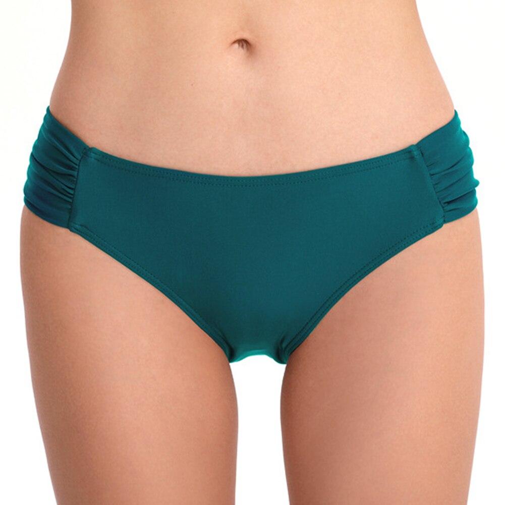 Женские пляжные плавки с низкой талией, модные летние плавки с рюшами для девочек, одежда для плавания, стандартные Плавки бикини, сексуальный купальник, спортивный костюм - Цвет: Зеленый