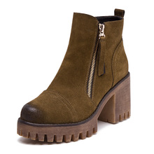 2016 Autumn Women's Boots High Heel Zipper New Arrival Martin Boot Nubuck Leather Cow Muscle Ankle Boot Girls Shoes