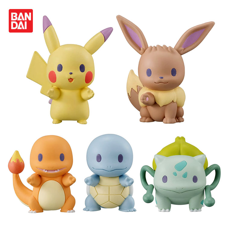 Takara Tomy Pokemon 4 Style PVC Anime Figures Pikachu Squirtle Bulbasaur Cubone Mini Cartoon Model Collection Gift