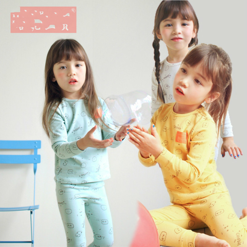 2017 Christmas Autumn Winter Kids Pajamas Sets For Girls Print Sleepwear Children Cotton Clothes Sets Baby Girls Home Wear