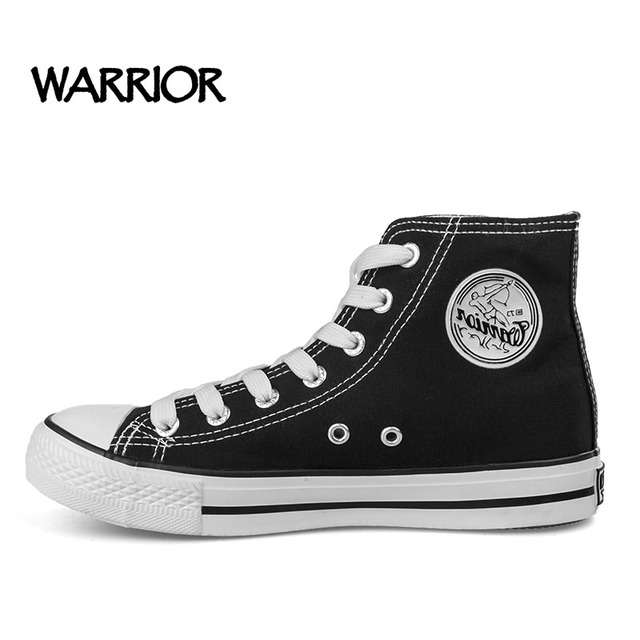 f73b2957b WARRIOR Unisex Classic High Top Men s Canvas Shoes Famou Brand Summer Black White  Casual Shoes For Men Hot Sale Size 35-44 T473