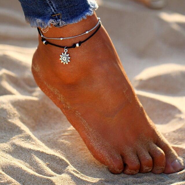 17KM Vintage Boho Multi Layer Beads Anklets Sun Pendent 1