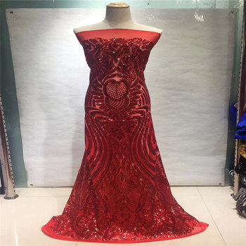 Red French Tulle Lace Fabric,high quality African Sequins Lace Fabric, Latest African Lace Fabric With Sequins for Wedding dress