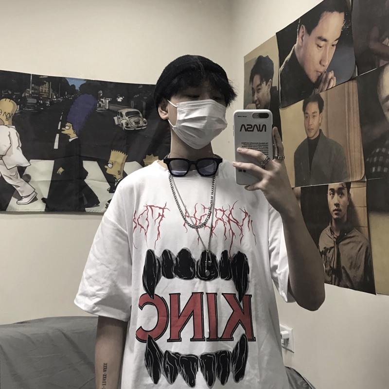 Tooth Letter Print Rock Summer Vintage Man T Shirt 2019 Fashion Hip Hop Urban Streetwear Tops Korean Harajuku Oversized Clothes