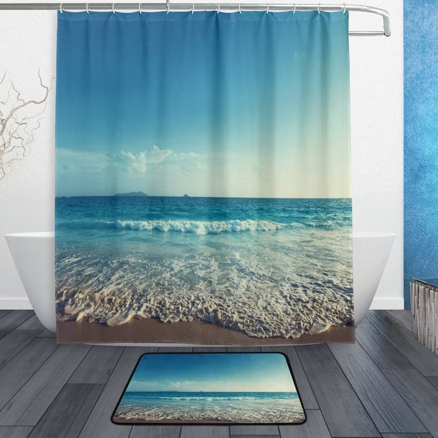 Beach Ocean Sea Scene Shower Curtain and Mat Set, Ocean Sea Waves ...