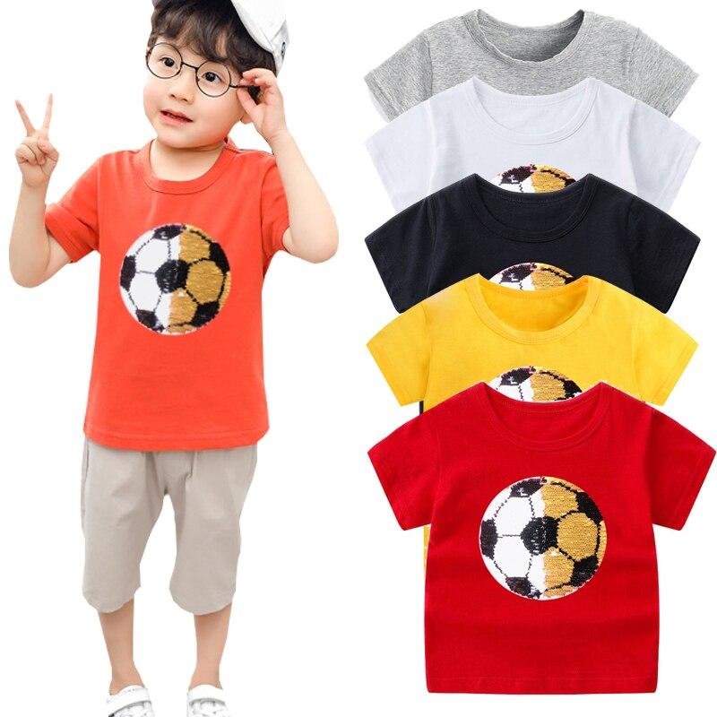Crianças das meninas dos meninos camisetas com paetês cor mudança rosto descoloração magia top de lantejoulas camisa dos miúdos t para meninos 2 -13 anos