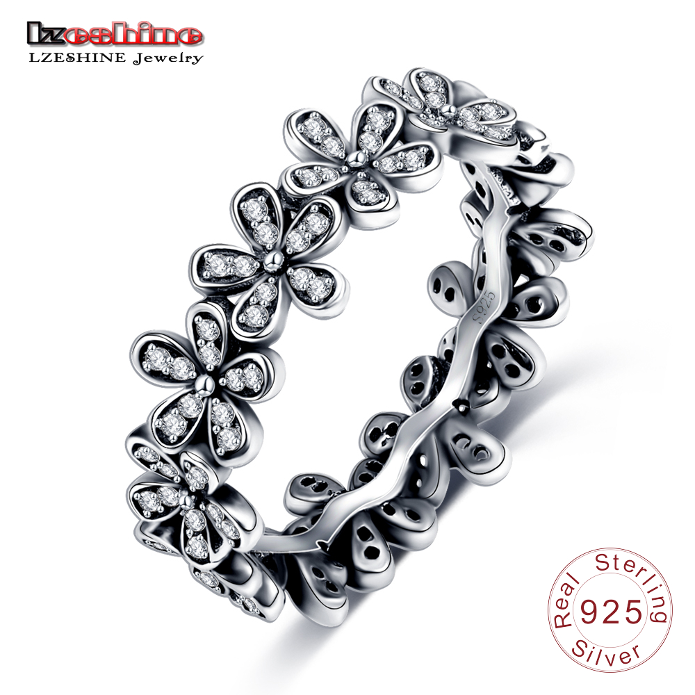 LZESHINE Vintage Antique Sterling Silver Rings Paved CZ Stone Flower Shape Women Rings Anel Bijoux Bague for Wedding PSRI0010 vanaxin 925 sterling silver rings for men jewelry iced out cz crystal anel masculino joias engagement wedding rings bague homme