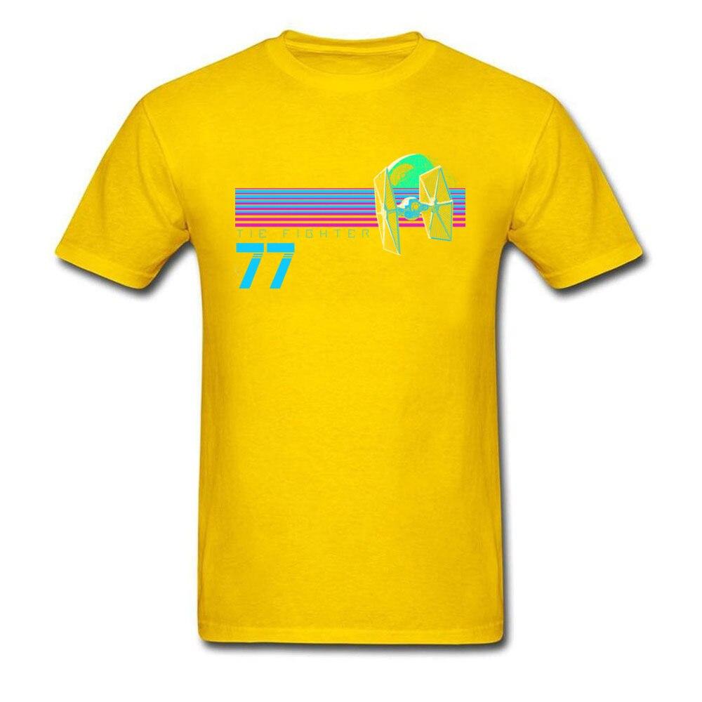 Прочный Шарм Звездные войны Спортивная футболка Tie Fighter And Death Star Футболка мужская хип хоп 80 s футболка с изображением неоновой черной одежды - Цвет: Yellow