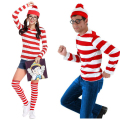 Where's Wally Waldo TV Cartoon Stag Night Outfit Adult Mens Fancy Dress Costumes halloween costumewomen and men cosplay
