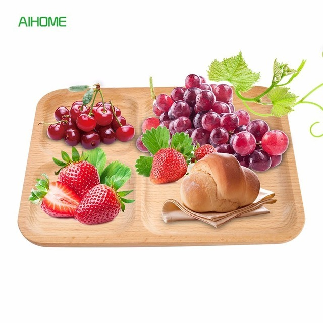 3 Sections Rectangular Wooden Serving Tray Wood Food Dish Plate for Salad Sushi Cakes Party Decor  sc 1 st  AliExpress.com & 3 Sections Rectangular Wooden Serving Tray Wood Food Dish Plate for ...