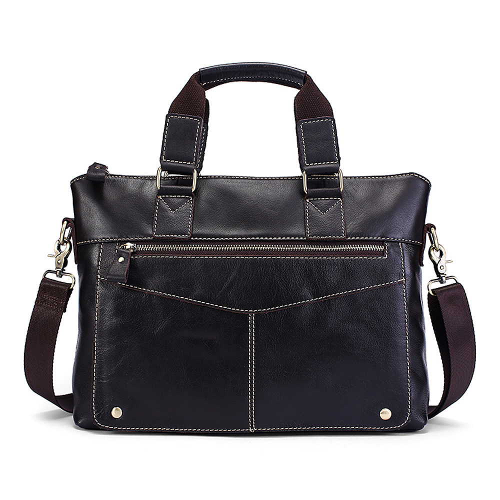 Document Briefcase Laptop-Bag Brown Genuine-Leather Shoulder-Bags Handbags-Cowhide Crossbody