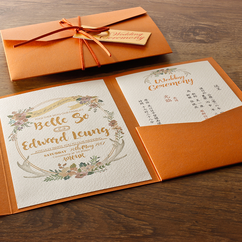 Us 125 0 Orange Wedding Invitations Envelope Wedding Invitation Card Wedding Invitation Customized Set Of 50 In Cards Invitations From Home