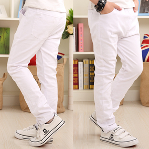 Image 1 - Boys Pants White Casual Pants 2019 Summer New Solid Straight Elastic Waist 100% Cotton Boy Trousers 110 160