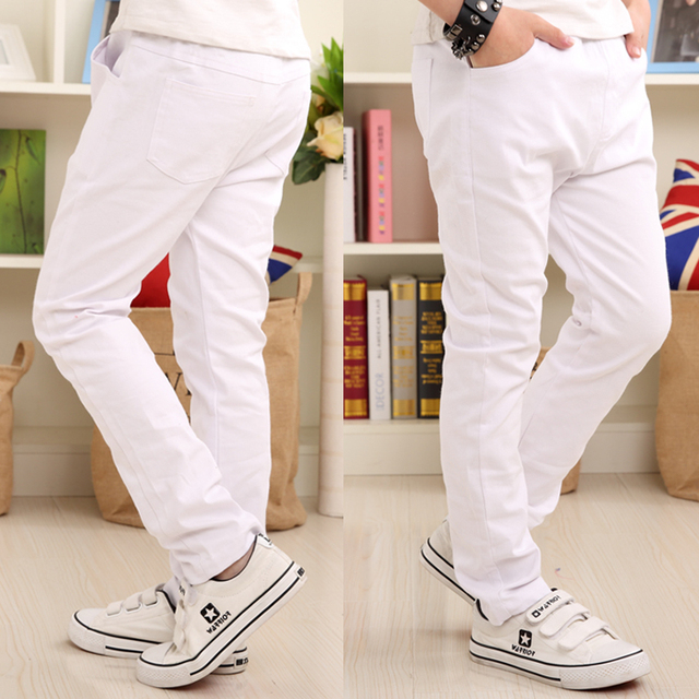 Boys Pants White Casual Pants 2019 Summer New Solid Straight Elastic Waist 100% Cotton Boy Trousers 110 160