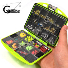 Gaining 181pcs Fishing Accessories Set Carp Catfish Freshwater Saltwater Fishing Tackle Box- Hooks, Swivels, Double Loops(China)