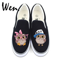 Wen Slip On Flat Canvas Shoes White Black Color Original Design BOY Hat Pink Bow Knot